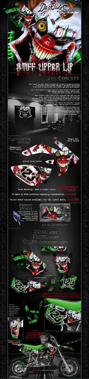 "KAWASAKI 2003-2006 KDX50 ""STIFF UPPER LIP"" CRAZY CLOWN GRAPHICS WRAP DECALS - Darkside Studio Arts LLC."