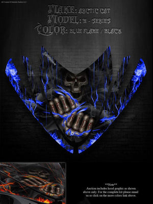 "ARCTIC CAT M-SERIES M8 M7 2006-2011 HOOD GRAPHICS KIT ""HELL RIDE"" CROSSFIRE - Darkside Studio Arts LLC."