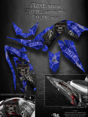 "YAMAHA RAPTOR 700 GRAPHICS ""THE OUTLAW"" DECALS WRAP BLUE 2006-2012 700R - Darkside Studio Arts LLC."
