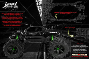 TRAXXAS X-MAXX CHASSIS / SHOCK TOWER HOP UP 'MACHINEHEAD' GRAPHICS DECALS BLACK - Darkside Studio Arts LLC.