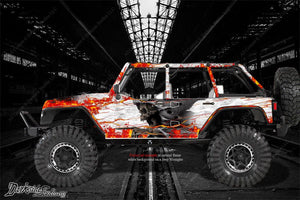 "AXIAL SCX10 JEEP WRANGLER GRAPHICS WRAP DECALS ""HELL RIDE"" FITS OEM LEXAN BODY - Darkside Studio Arts LLC."
