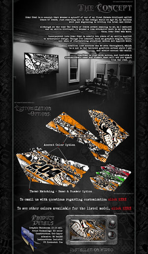 "ARRMA OUTCAST TRUCK WRAP GRAPHICS DECALS ""GEARHEAD"" ORANGE FITS OEM BODY PARTS - Darkside Studio Arts LLC."