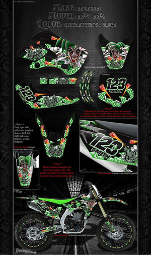 "KAWASAKI 1985-2015 KX60 KX65 ""LUCKY"" GRAPHICS WRAP DECALS FOR OEM AND UFO - Darkside Studio Arts LLC."