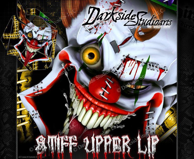 "SKI-DOO 2008-2012 XP REV SUMMIT ""STIFF UPPER LIP"" SIDE PANEL GRAPHICS WRAP - Darkside Studio Arts LLC."
