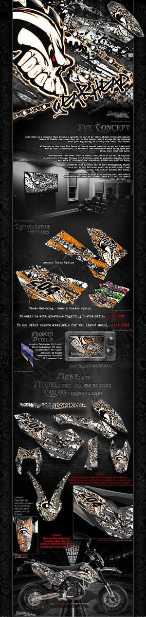 """GEAR HEAD"" GRAPHICS WRAP DECAL KIT FITS KTM 2008-2020 SMC690 LC4 SMC-R - Darkside Studio Arts LLC."