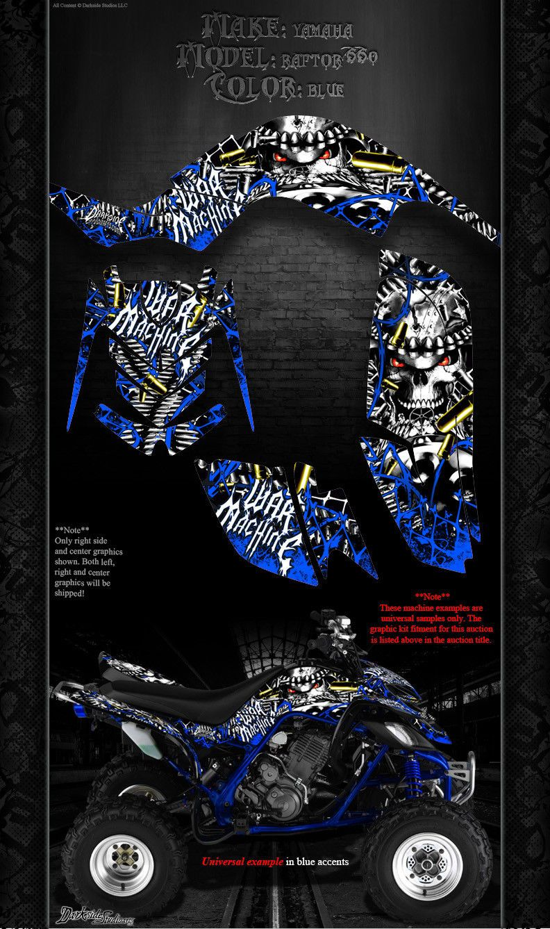 "YAMAHA RAPTOR 350 GRAPHICS FOR BLACK PARTS BLUE ACCENTS /""THE FREAK SHOW/"""