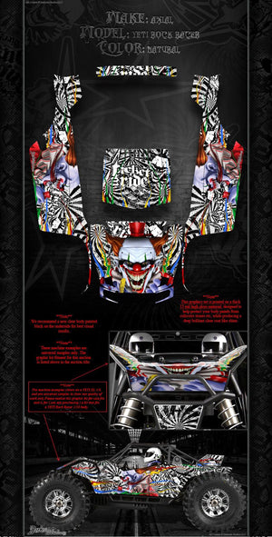 "AXIAL YETI ROCK RACER DECALS WRAP GRAPHICS ""TICKET TO RIDE"" FITS OEM PARTS 1/10 - Darkside Studio Arts LLC."
