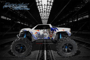 "TRAXXAS X-MAXX GRAPHICS WRAP DECALS ""LUCKY"" FITS PROLINE FORD RAPTOR, BRUTE BASH & STOCK BODY - Darkside Studio Arts LLC."