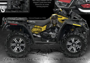"CAN-AM OUTLANDER MAX 2006-2012 DECALS GRAPHICS KIT ""THE OUTLAW"" SKULLS YELLOW - Darkside Studio Arts LLC."