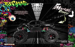TRAXXAS X-MAXX CHASSIS / SHOCK TOWER 'RUCKUS' GRAPHICS DECALS BLACK - Darkside Studio Arts LLC.