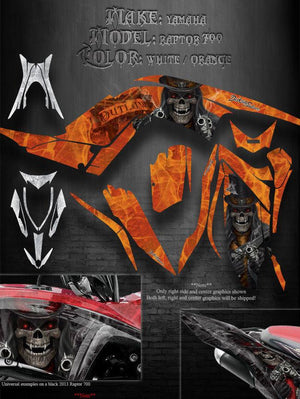 "YAMAHA 2013-2020 RAPTOR 700 ""THE OUTLAW"" GRAPHICS DECALS KIT WHITE ORANGE EDITION - Darkside Studio Arts LLC."