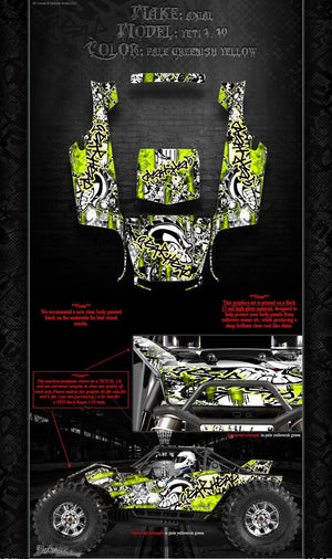 "AXIAL YETI ROCK RACER DECALS WRAP GRAPHICS ""GEAR HEAD"" FITS OEM BODY PARTS 1/10 - Darkside Studio Arts LLC."