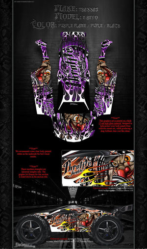"TRAXXAS E-REVO GRAPHICS WRAP DECALS ""THROTTLE JUNKIE"" FITS OEM BODY PARTS - Darkside Studio Arts LLC."