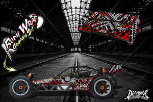 "HPI BAJA 5B SS WRAP GRAPHIC ""WAR MACHINE"" HOP UP DECAL KIT FOR OEM BODY PARTS - Darkside Studio Arts LLC."
