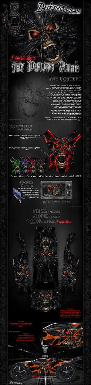 "TRAXXAS E-REVO GRAPHICS WRAP DECALS ""THE DEMONS WITHIN"" APPLIES TO OEM BODY - Darkside Studio Arts LLC."