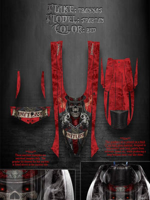 "TRAXXAS SPARTAN BOAT WRAP DECALS GRAPHICS KIT ""THE OUTLAW"" FITS OEM HULL BODY - Darkside Studio Arts LLC."
