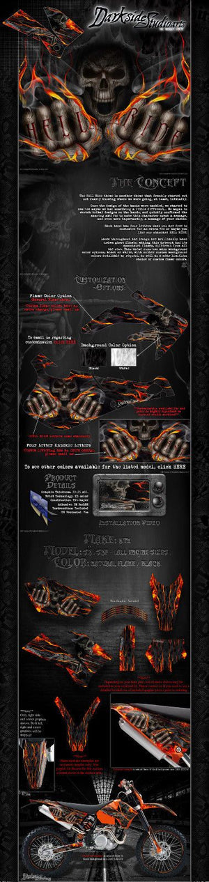 """HELL RIDE"" GRAPHICS WRAP FITS KTM 1998-2006 SX SXF 250 300 450 525 FOR OEM PART - Darkside Studio Arts LLC."