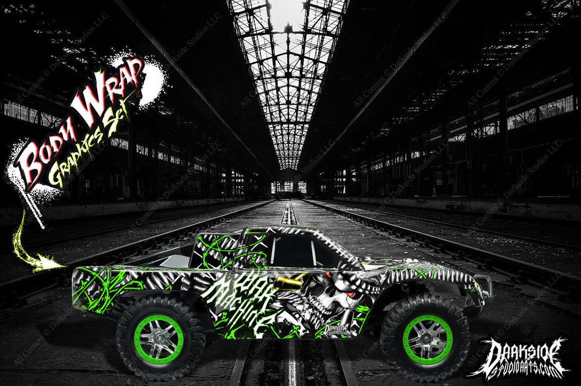 "TRAXXAS SLASH 4X4 GRAPHICS WRAP ""WAR MACHINE"" HOP-UP DECALS FOR OEM BODY PARTS - Darkside Studio Arts LLC."