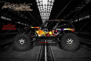 "AXIAL WRAITH ROCK RACER WRAP GRAPHICS ""PYRO"" DESIGNED WITH WHITE ACCENTS - Darkside Studio Arts LLC."