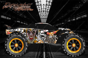 "TRAXXAS RUSTLER GRAPHICS DECALS WRAP ""LUCKY"" FITS OEM BODY PARTS ORANGE - Darkside Studio Arts LLC."