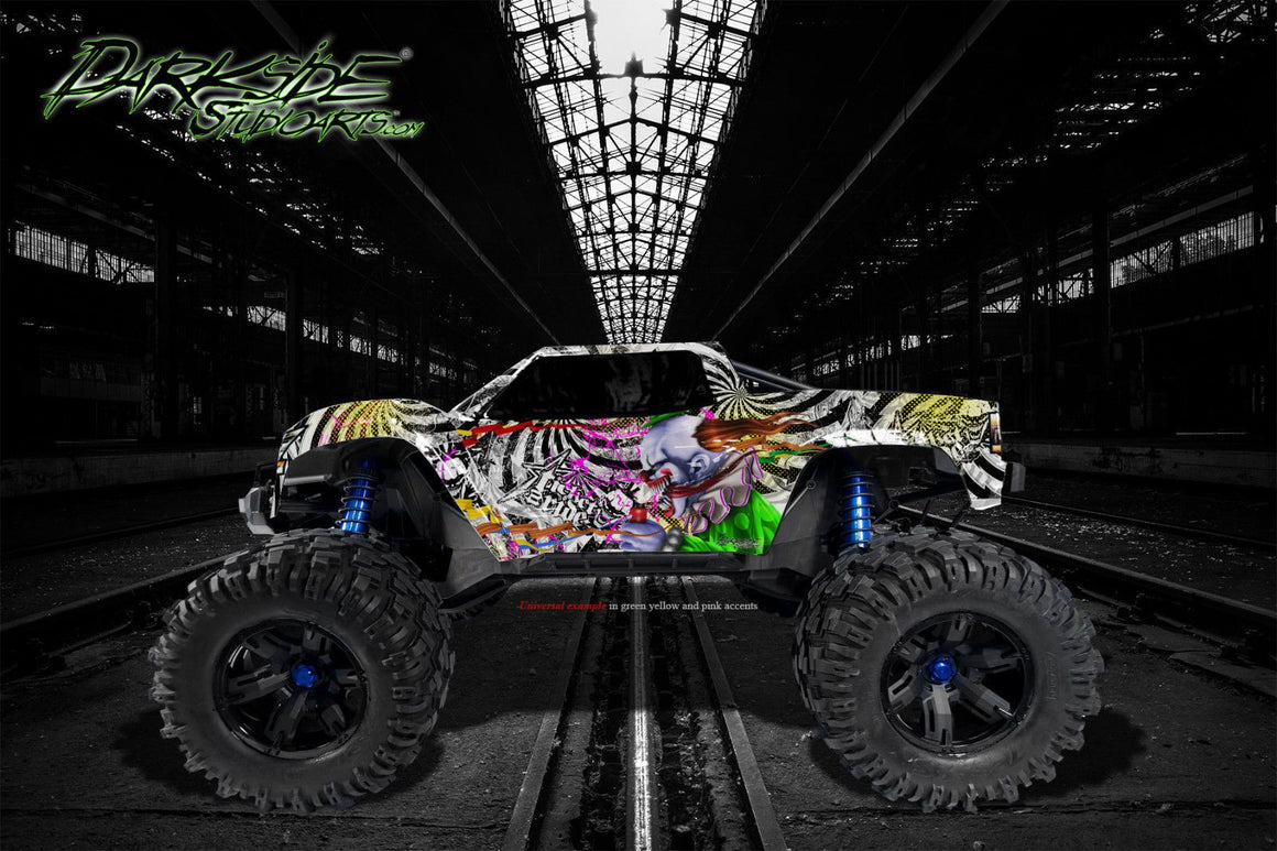 "TRAXXAS X-MAXX GRAPHICS WRAP DECALS ""TICKET TO RIDE"" FITS STOCK TRAXXAS OR PROLINE FORD RAPTOR BODY - Darkside Studio Arts LLC."