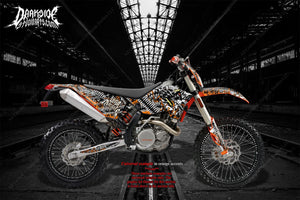 """WAR MACHINE"" GRAPHICS WRAP FITS KTM 2008-2011 EXC XCW 250 300 450 525 - Darkside Studio Arts LLC."