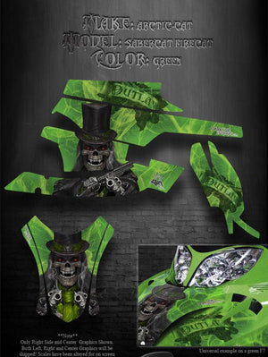 "ARCTIC CAT F5 F6 F7 2003-2006 GREEN CROSSFIRE DECALS ""THE OUTLAW"" WRAP GRAPHICS - Darkside Studio Arts LLC."