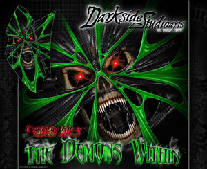 "KAWASAKI KFX450R GRAPHICS WRAP DECAL KIT ""THE DEMONS WITHIN"" FITS OEM PARTS - Darkside Studio Arts LLC."