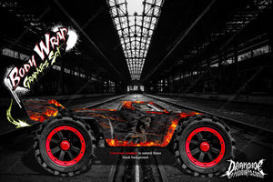 "ARRMA KRATON GRAPHICS WRAP DECALS ""HELL RIDE"" NATURAL FLAME BLACK - Darkside Studio Arts LLC."