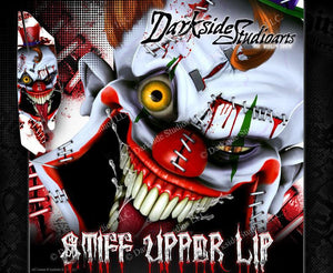 YAMAHA RAPTOR 350 -ALL YEARS- WRAP DECAL GRAPHIC SET KIT 'STIFF UPPER LIP' - Darkside Studio Arts LLC.