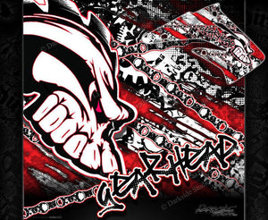 "HONDA 2004-2012 CRF70 CRF80 CRF100 GRAPHICS DECALS ""GEAR HEAD"" WRAP - Darkside Studio Arts LLC."