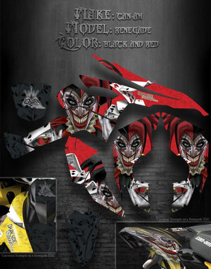 "CAN-AM RENEGADE 2005 BLACK AND RED COLORS  ""THE JESTERS GRIN"" GRAPHICS JOKER - Darkside Studio Arts LLC."
