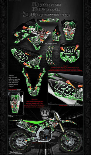 "KAWASAKI 2004-2017 KXF250 ""LUCKY"" GRAPHICS WRAP DECAL KIT FITS OEM PARTS - Darkside Studio Arts LLC."
