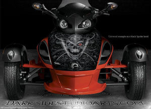 "RED CAN-AM SPYDER GRAPHICS HOOD WRAP KIT PARTS ""MACHINEHEAD"" BODY STICKERS - Darkside Studio Arts LLC."