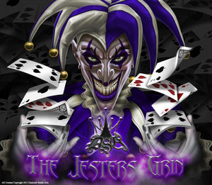 "SUZUKI LTR450R ATV GRAPHICS  ATV GRAPHICS ""THE JESTERS GRIN"" WHITE AND PURPLE - Darkside Studio Arts LLC."