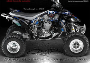 "YAMAHA 2009-2013 YFZ450X YFZ450R ""THE FREAK SHOW"" WHITE & BLUE GRAPHICS DECALS - Darkside Studio Arts LLC."