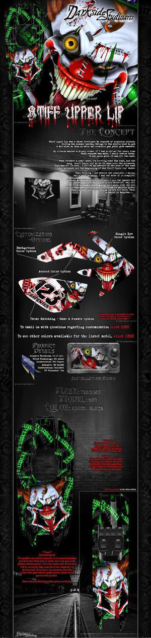 "TRAXXAS DCB M41 CATAMARAN WRAP GRAPHICS ""STIFF UPPER LIP"" FITS OEM HULL DECALS - Darkside Studio Arts LLC."