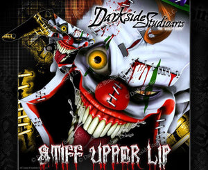 "SUZUKI RMX450 GRAPHICS WRAP ""STIFF UPPER LIP"" INCLUDES RIM DECALS - Darkside Studio Arts LLC."