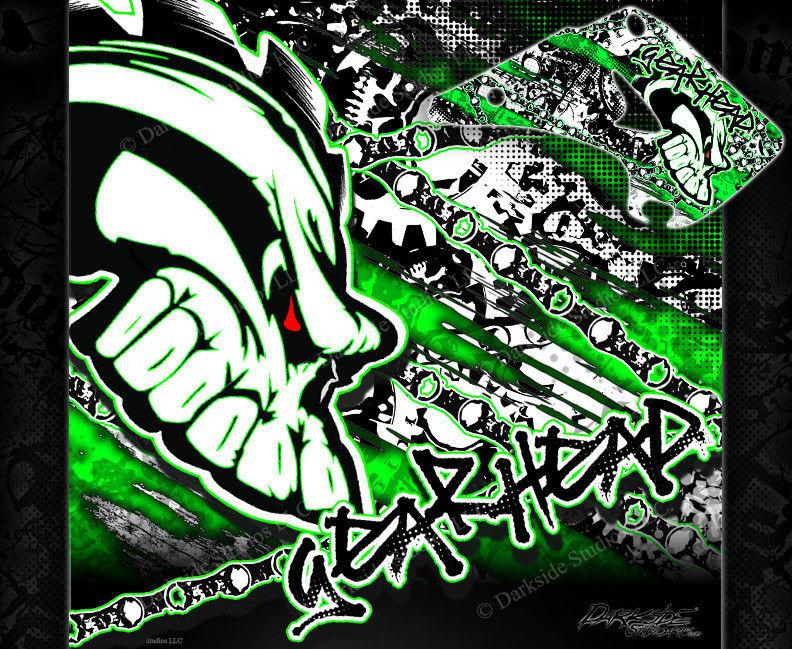 "KAWASAKI 1986-2013 KX125 KX250 2-STROKE ""GEAR HEAD"" GRAPHICS WRAP DECALS - Darkside Studio Arts LLC."