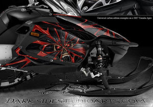 "YAMAHA APEX 2006-10 SNOWMOBILE GRAPHICS WRAP ""THE DEMONS WITHIN"" CARBON EDITION - Darkside Studio Arts LLC."