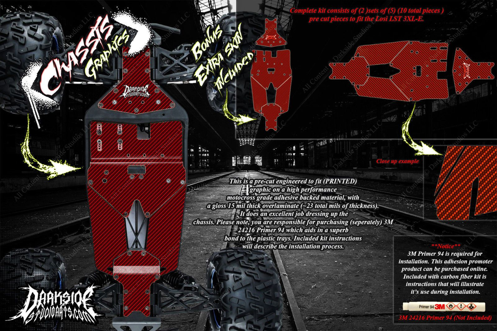 LOSI LST 3XL-E CARBON FIBER CHASSIS SKID PLATE WRAP DECAL KIT HOP UP SET RED