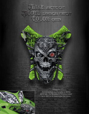 "ARCTIC CAT FIRECAT SABERCAT F7 2003-06 GREEN HOOD GRAPHICS ""MACHINEHEAD"" F5 F6 - Darkside Studio Arts LLC."