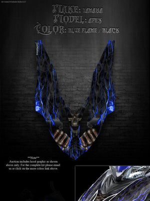 "YAMAHA APEX 2006-2010 SNOWMOBILE GRAPHICS WRAP ""HELL RIDE"" HOOD DECAL KIT ONLY - Darkside Studio Arts LLC."