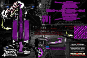 TRAXXAS E-REVO SUMMIT CHASSIS PRINTED CARBON FIBER HOP UP GRAPHICS DECALS PURPLE - Darkside Studio Arts LLC.