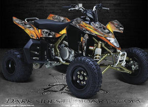"SUZUKI LTR450 LTR450R QUADRACER ATV GRAPHICS ""MACHINEHEAD"" FIRE EDITION SKULL - Darkside Studio Arts LLC."