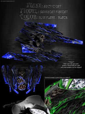 "2003-2006 ARCTIC CAT ""HELL RIDE"" WRAP GRAPHICS DECALS KIT FIRECAT F5 F6 F7 - Darkside Studio Arts LLC."