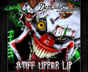 "KAWASAKI 2008-2012 KLX400 KLX450 ""STIFF UPPER LIP"" CLOWN GRAPHICS WRAP DECALS - Darkside Studio Arts LLC."