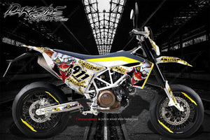 HUSQVARNA 701 SUPERMOTO / ENDURO GRAPHICS WRAP 'STIFF UPPER LIP' DECAL KIT - Darkside Studio Arts LLC.
