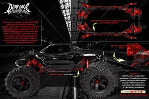 TRAXXAS X-MAXX CHASSIS / SHOCK TOWER PRINTED FLAMES GRAPHICS DECALS RED - Darkside Studio Arts LLC.