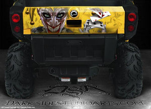 "CAN-AM COMMANDER 800 1000 XT TAILGATE GRAPHICS ""THE JESTERS GRIN "" YELLOW MODEL - Darkside Studio Arts LLC."